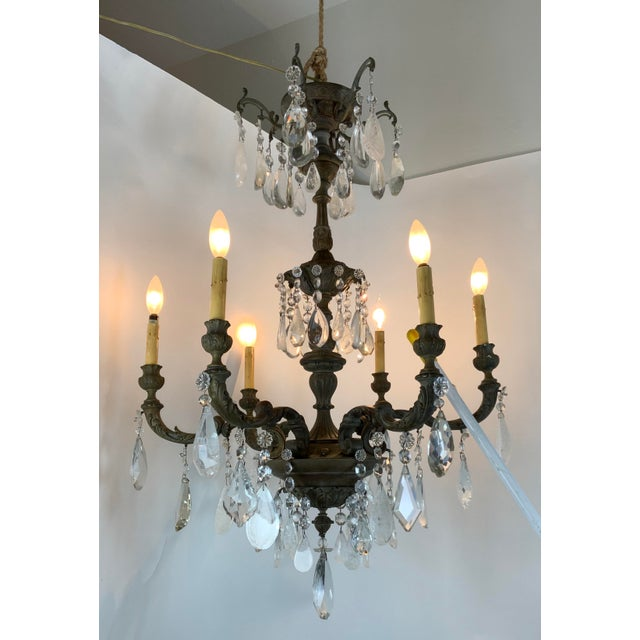 Metal Late 19th / Early 20th Century French Bronze Chandelier With Rock Crystals For Sale - Image 7 of 13