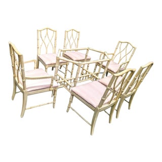 7 Piece Palm Beach Regency Chippendale Faux Bamboo Dining Room Set 6 Chairs and Table