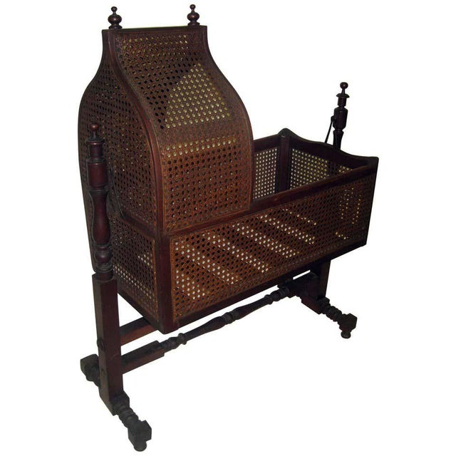 19th Century Gothic Revival Walnut Swinging Cradle For Sale - Image 13 of 13