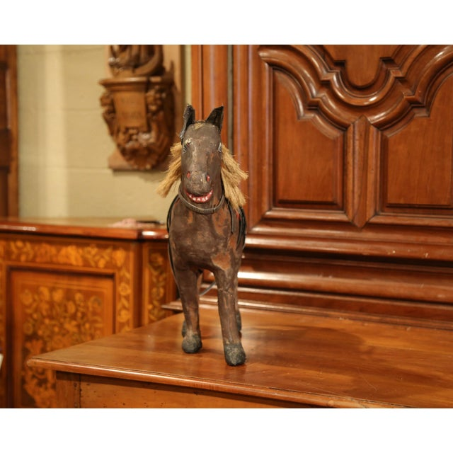 Animal Skin 19th Century French Leather Papier Mache and Horse Hair Painted Sculpture For Sale - Image 7 of 10