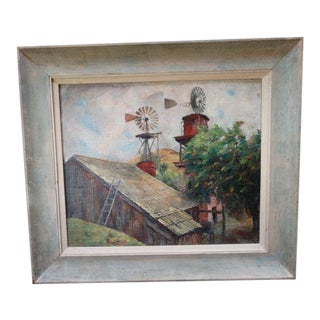 Barn and Windmills Oil Painting by Ejnar Hansen For Sale