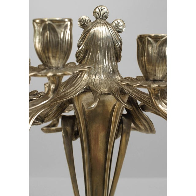 Pair of Art Nouveau silvered pewter candelabra with female figure surrounded by 8 arms (probably WMF)