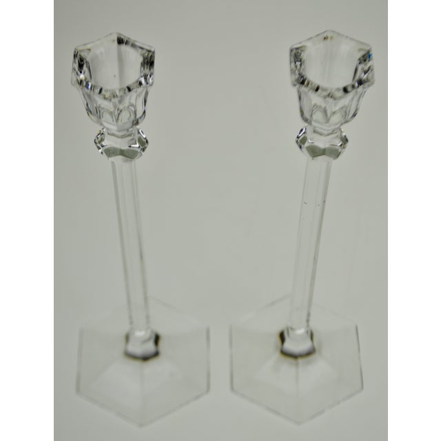 Vintage Glass Candlesticks - a Pair For Sale - Image 4 of 12