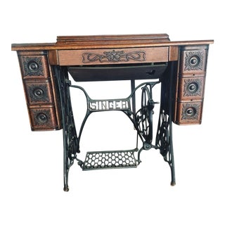 Antique Redeye Singer Treadle Sewing Machine With Cabinet For Sale
