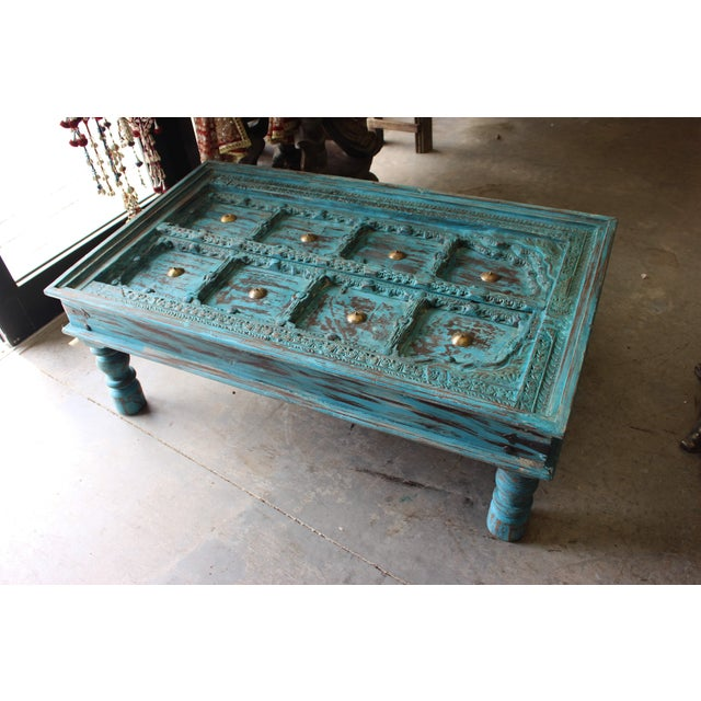 Distressed Solid Wooden Rustic Coffee Table For Sale - Image 6 of 6