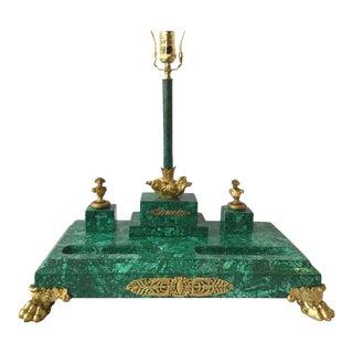 Large Napoleonic Malachite Inkwell Set For Sale