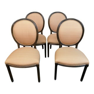 Kreiss Furniture Round Back Side Chairs + Rogers & Goffigon Fabric - Set of Four For Sale