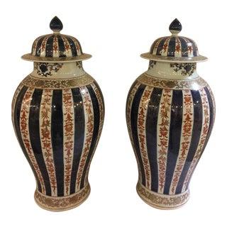 Blue & Cream Ginger Jars - A Pair