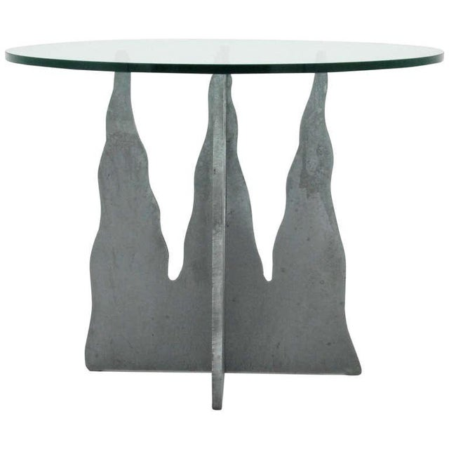 Pucci De Rossi Steel And Glass End Side Table - Image 1 of 6