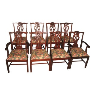 Maitland-Smith Mahogany Chippendale Dining Chairs- Set of 8