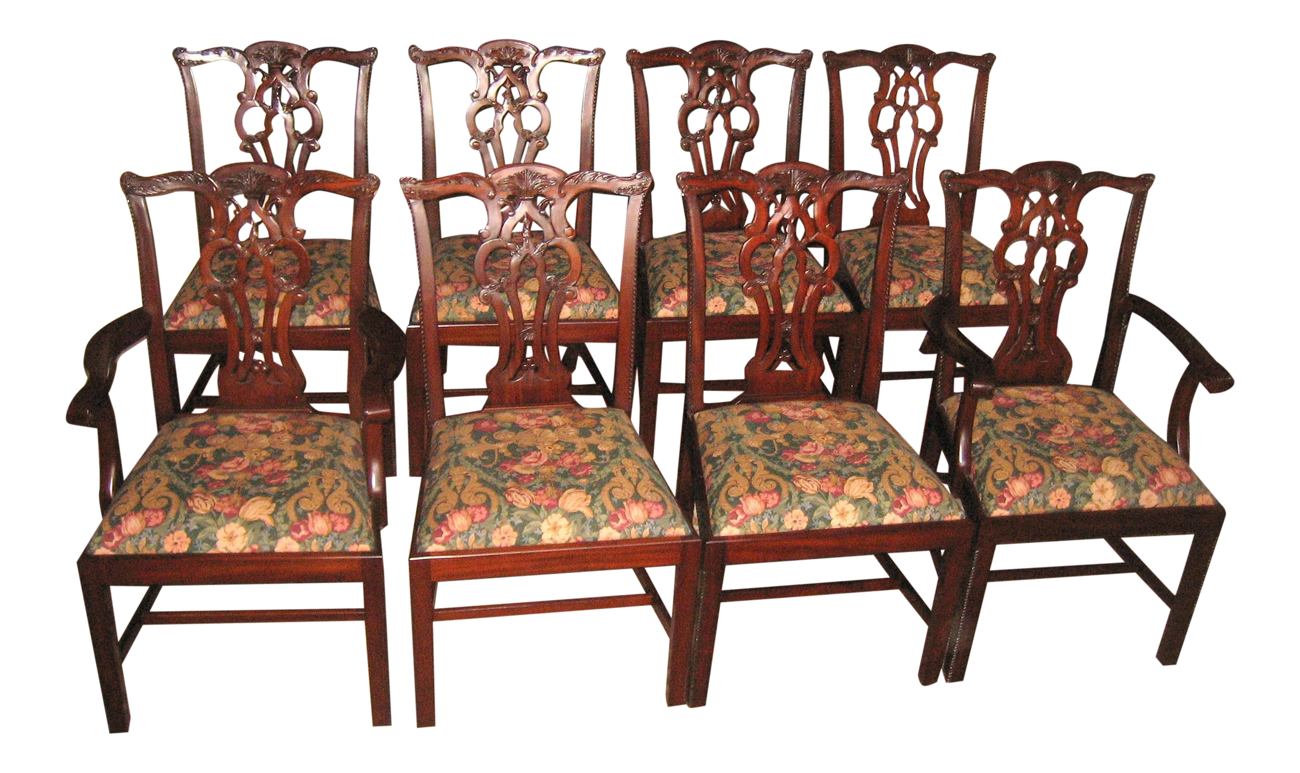 Maitland Smith Mahogany Chippendale Dining Chairs  Set Of 8