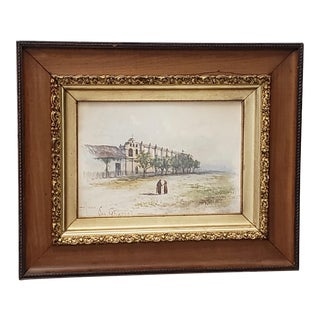 San Gabriel Mission Original Watercolor 19th Century For Sale