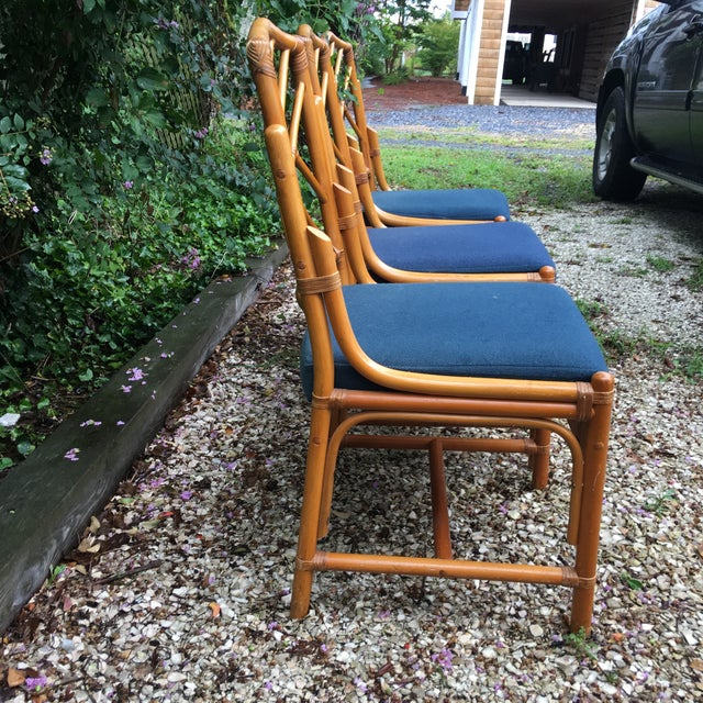 Chippendale Bamboo Side Chairs - Set of 3 For Sale - Image 4 of 11
