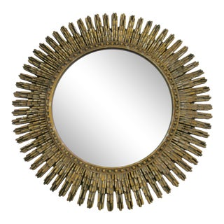 Vintage Gold and Silver Gilt Leaf Sunburst Mirror For Sale
