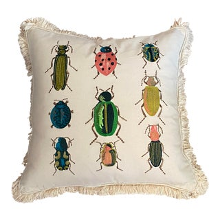 Colorful Insects Down Filled Throw Pillow For Sale