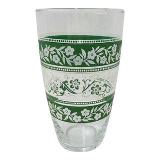 Vintage Green & White Floral Flower Vase For Sale