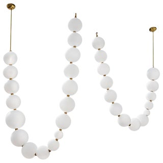 Pair of Pearl Necklace Pendant Lights, Ludovic Clément d'Armont For Sale