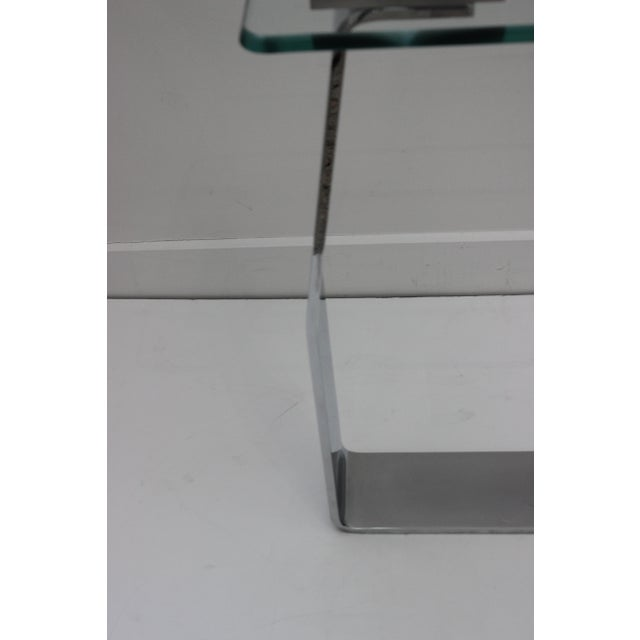 DIA - Design Institute America Side Table Satin Steel Polished Steel Glass in Style of Dia For Sale - Image 4 of 13