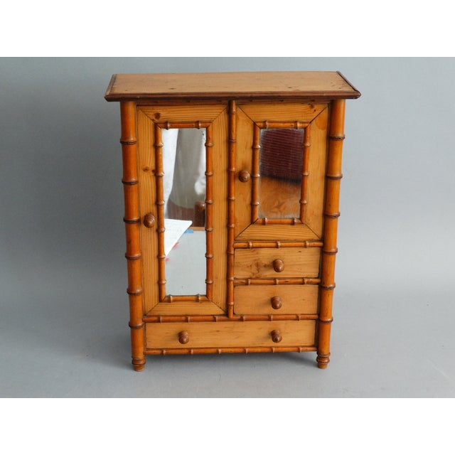Faux Bamboo Diminutive Faux Bamboo Armoire For Sale - Image 7 of 8
