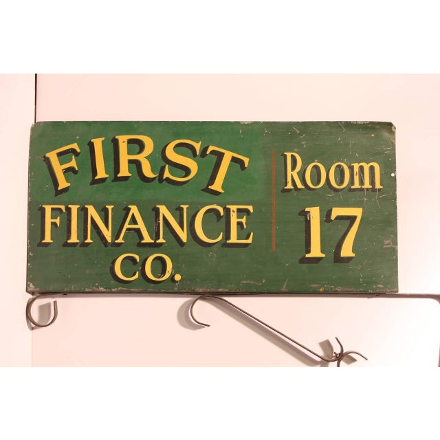 "Rustic 1900s Vintage Double-Sided ""First Finance Company"" Sign For Sale - Image 3 of 3"