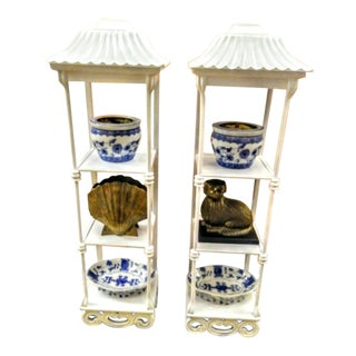 A Pair White Tall Pagoda Palm Beach Regency Wall Shelves Cabinets For Sale
