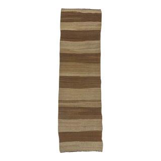 Turkish Kilim Brown Striped Runner Rug - 3′ × 9′10″ For Sale
