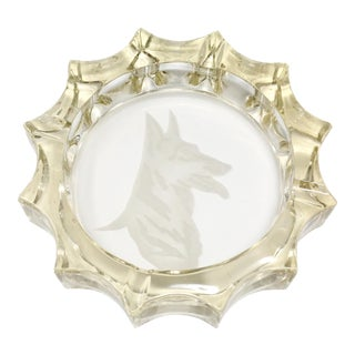 Vintage Etched Glass German Shepherd Ashtray For Sale