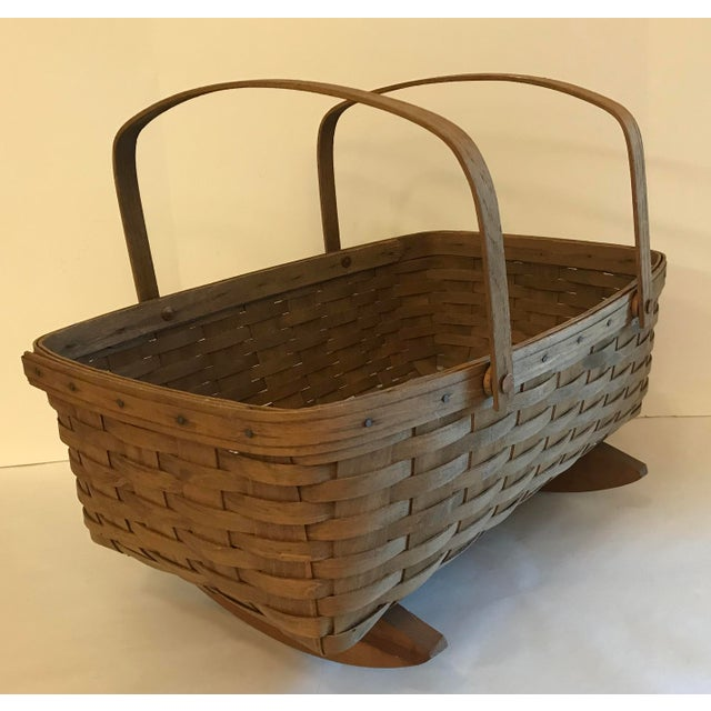 Nice large vintage Longaberger cradle style basket with movable handles.