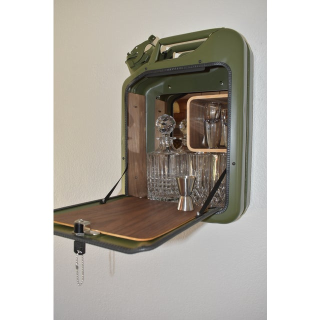 Danish Fuel Army Green Bar Cabinet For Sale - Image 9 of 10