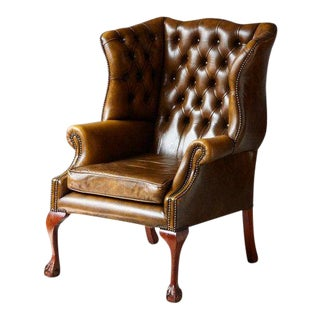 Buckingham Walnut Burnished Leather Wingback Chair by Hancock & Moore For Sale