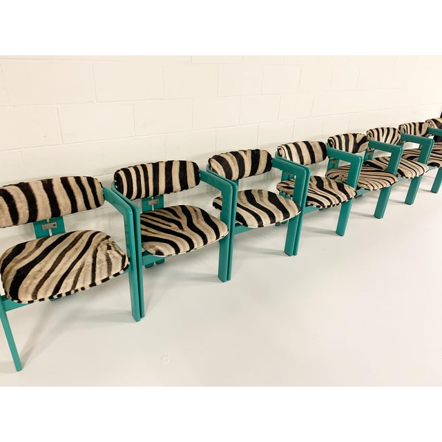 Turquoise Augusto Savini for Pozzi 'Pamplona' Dining Chairs in Zebra - Set of 8 For Sale - Image 8 of 10