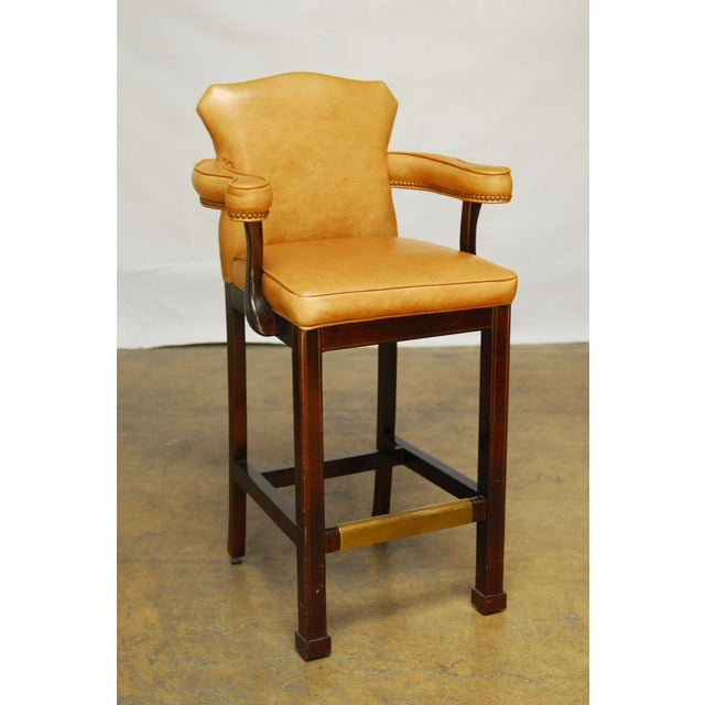 French Leather Moustache Bar Stools - Pair - Image 3 of 7