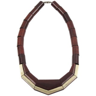 French Art Deco Handmade Wooden Geometric Choker Necklace Silvered Accent For Sale