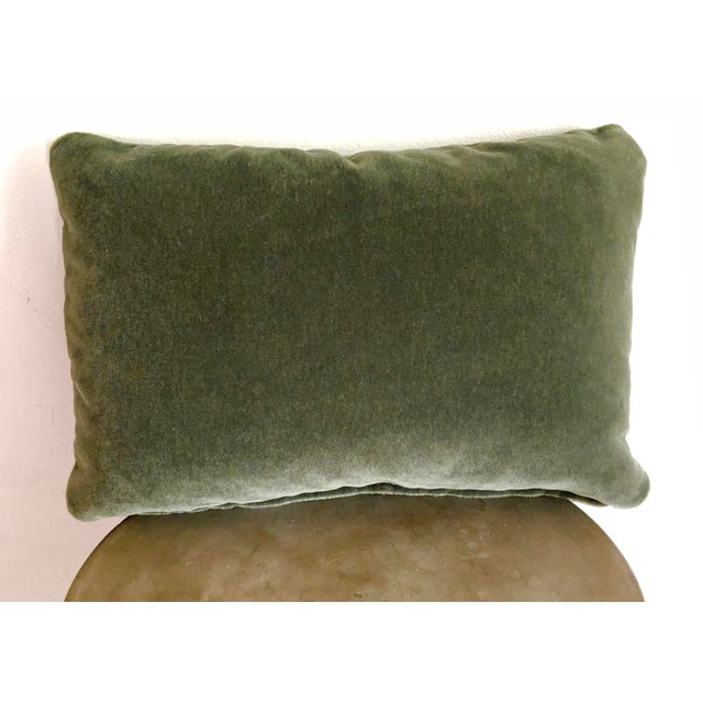 "A custom designer Maharam mohair 12""x18"" pillow cover. The forest green Maharam fabric is 100% mohair from the..."