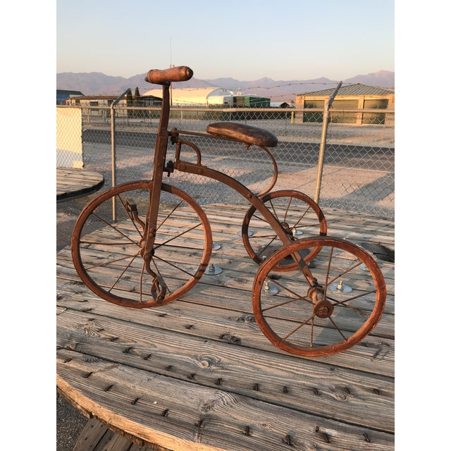 Early 1900s Antique Industrial Cast Iron Tricycle For Sale - Image 4 of 13
