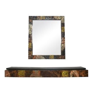 Paul Evans Patchwork Mirror and Wall-Mounted Console