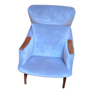 Vintage Mid Century Modern Bj Hansen Norway for Walter Design Wingback Chair For Sale