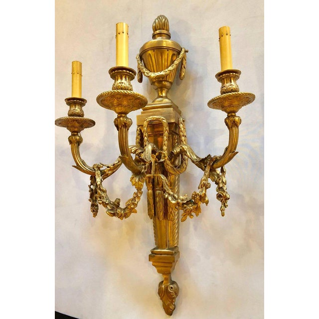 French Pair of French Louis XVI Style Dore Bronze Sconces With Foundry Name For Sale - Image 3 of 13