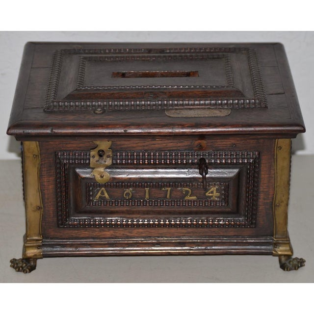 Early 18th Century Carved Walnut & Brass Alms Box C. 1724 For Sale - Image 13 of 13
