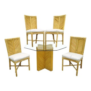 Vintage Hollywood Regency Bamboo Rattan Dining Set Table 4 Chairs McGuire Style