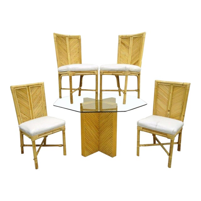 Vintage Hollywood Regency Bamboo Rattan Dining Set Table 4 Chairs ...