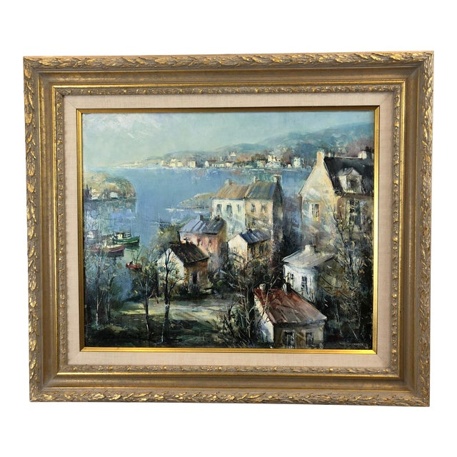 Oil on Canvas of Port Landscape by Lucien Delarue For Sale