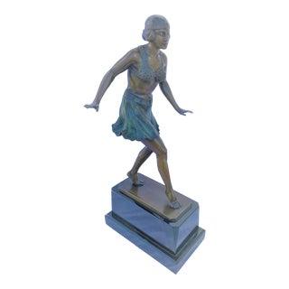 Art DEco Sculpture ,Bronze ,Multi Patinas ,Black Marble ,Signed For Sale