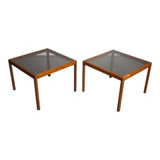 Pair of Tall Teak End Tables With Smoked Glass Tops For Sale