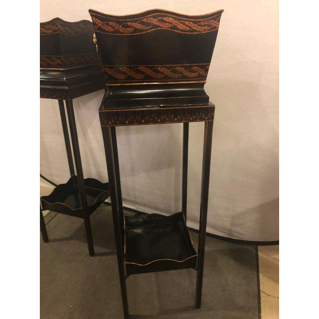 Pair of Georgian Style Tole Jardinières or Planters on Shelved Pedestals For Sale - Image 4 of 13
