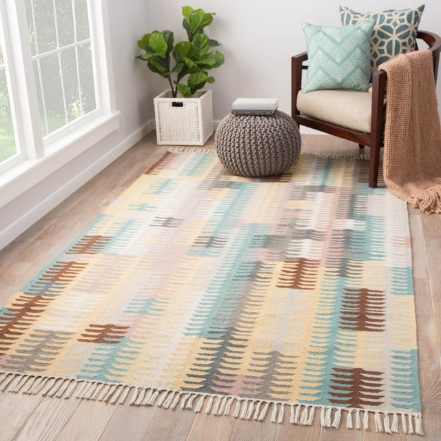 2010s Jaipur Living Carver Indoor/ Outdoor Abstract Turquoise/ Yellow Area Rug - 2' X 3' For Sale - Image 5 of 6