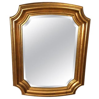 Gold Leaf Style Composite Beveled Mirror For Sale
