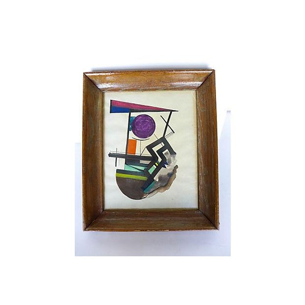 An original abstract expressionist gouache ink painting on paper, unsigned. It is framed in wood from the 1950s.