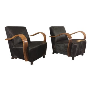 Pair of 1930s Austrian Art Deco Lounge Chairs, Black Hide Covers For Sale