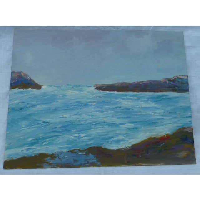 """Mid Century Painting """"Stormy Ocean,"""" H.L. Musgrave - Image 2 of 6"""